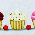 pintura tecido cupcakes