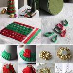Como fazer mini árvore de natal com fitas